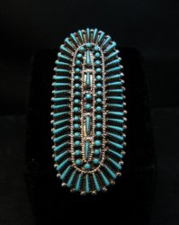 Long Zuni Shirley Lahi Turquoise Petit Point Cluster Ring sz7