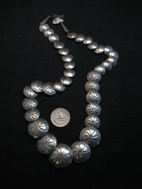Image 0 of Vintage Navajo Native American Hollow Silver Disk Bead Necklace Reversible