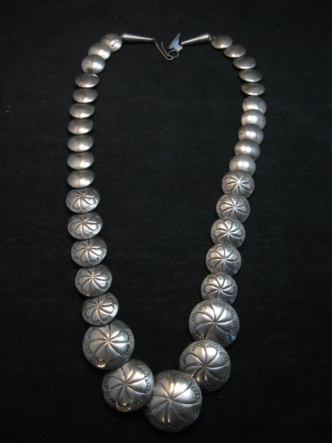 Image 2 of Vintage Navajo Native American Hollow Silver Disk Bead Necklace Reversible