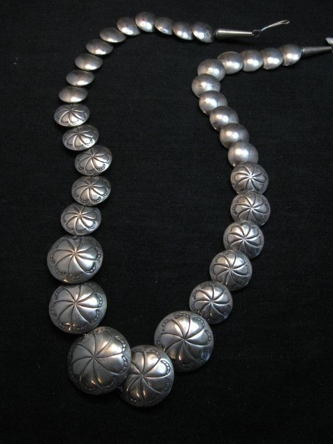 Image 3 of Vintage Navajo Native American Hollow Silver Disk Bead Necklace Reversible