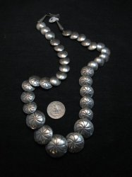 Vintage Navajo Native American Hollow Silver Disk Bead Necklace Reversible