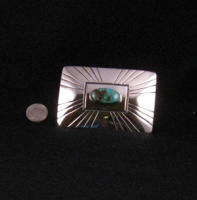 Image 2 of Everett and Mary Teller Turquoise Sterling Silver Belt Buckle