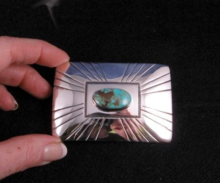 Image 1 of Everett and Mary Teller Turquoise Sterling Silver Belt Buckle