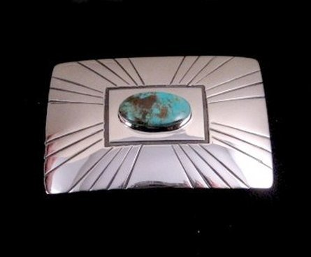 Image 0 of Everett and Mary Teller Turquoise Sterling Silver Belt Buckle