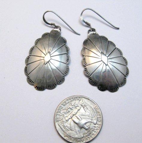 Image 1 of Vintage Native American Navajo Sterling Silver Concho Dangle Earrings