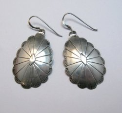 Vintage Native American Navajo Sterling Silver Concho Dangle Earrings