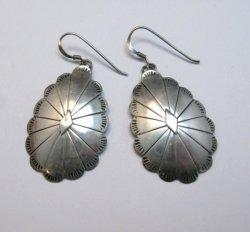 Vintage Native American Navajo Sterling Silver Concho Dangle Earrings