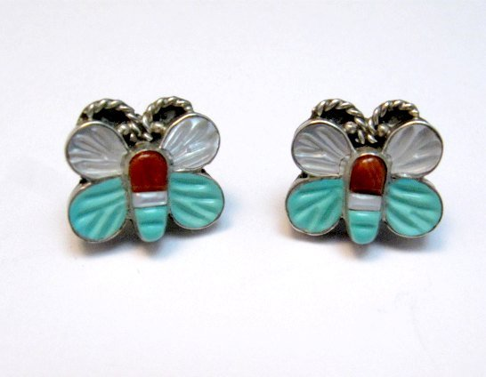 Image 0 of Vintage Petite Zuni Butterfly Multigem Inlay Earrings