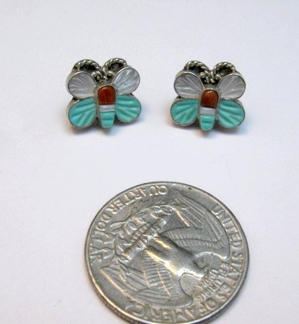 Image 1 of Vintage Petite Zuni Butterfly Multigem Inlay Earrings