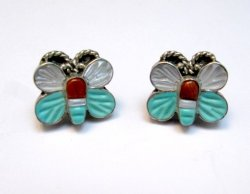 Vintage Petite Zuni Butterfly Multigem Inlay Earrings