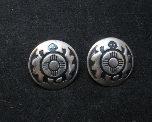 Image 0 of Vintage Southwestern Turtle and Zia Silver Post Earrings