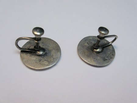 Image 1 of Vintage Native American Turquoise Silver Disk Earrings, Screw-back