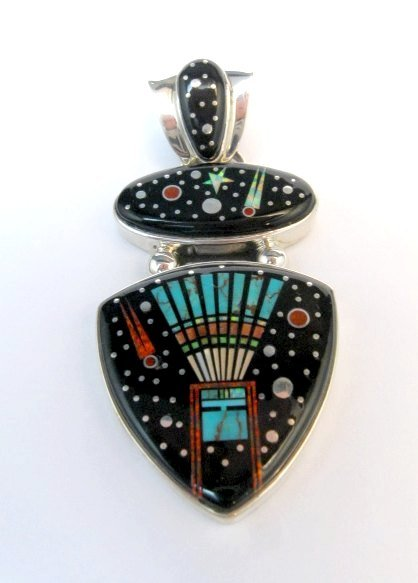 Image 0 of Navajo Matthew Jack Micro Inlay Yei Bei Chai Night Sky Pendant