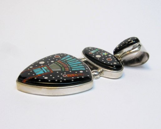 Image 1 of Navajo Matthew Jack Micro Inlay Yei Bei Chai Night Sky Pendant