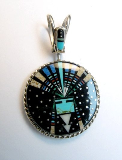 Image 0 of Reversible 2-sided Navajo Inlaid Night Sky Yei Spinner Pendant