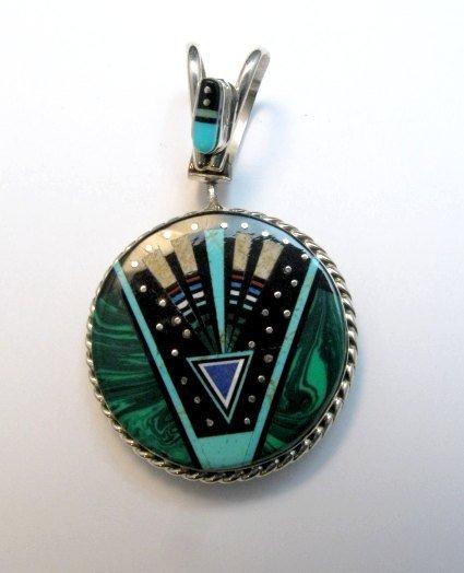 Image 1 of Reversible 2-sided Navajo Inlaid Night Sky Yei Spinner Pendant
