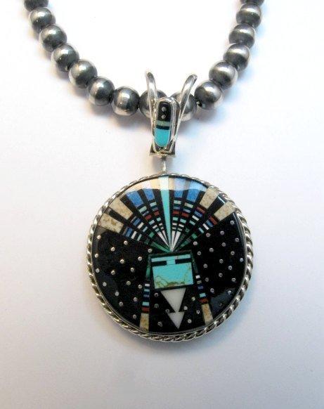 Image 2 of Reversible 2-sided Navajo Inlaid Night Sky Yei Spinner Pendant
