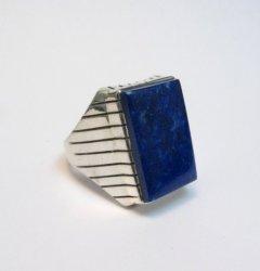 Navajo Native American Lapis Silver Ring Ray Jack Sz13