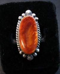 Native American Navajo Spiny Oyster Silver Ring, Augestine Largo Sz7