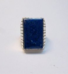 Navajo Native American Lapis Silver Ring Ray Jack Sz10-3/4