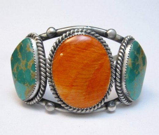 Image 0 of Large Navajo Native American Turquoise Spiny Oyster Silver Cuff Bracelet