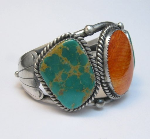 Image 1 of Large Navajo Native American Turquoise Spiny Oyster Silver Cuff Bracelet