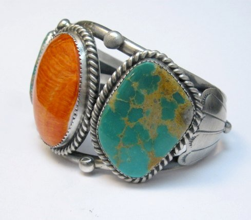 Image 2 of Large Navajo Native American Turquoise Spiny Oyster Silver Cuff Bracelet