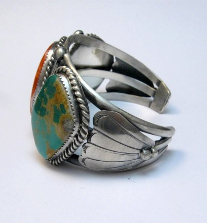 Image 3 of Large Navajo Native American Turquoise Spiny Oyster Silver Cuff Bracelet