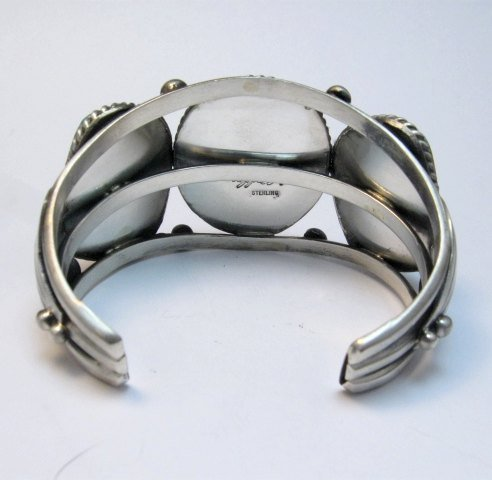 Image 4 of Large Navajo Native American Turquoise Spiny Oyster Silver Cuff Bracelet