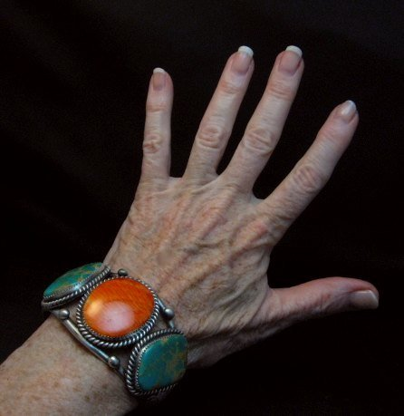 Image 5 of Large Navajo Native American Turquoise Spiny Oyster Silver Cuff Bracelet