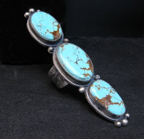 Image 0 of Navajo 3-Stone Turquoise Silver Ring by Juanita Long sz8-1/2