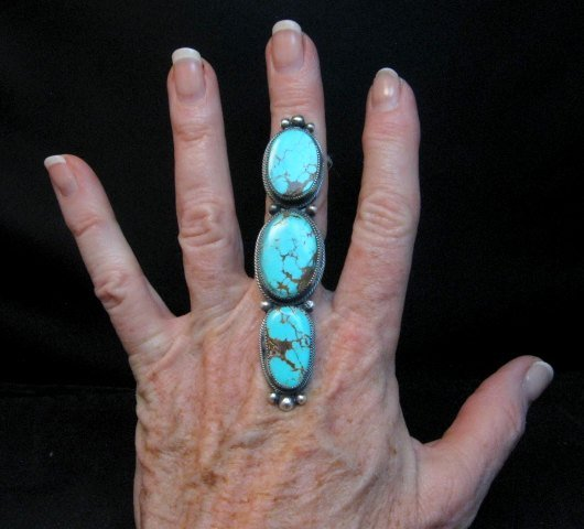 Image 1 of Navajo 3-Stone Turquoise Silver Ring by Juanita Long sz8-1/2