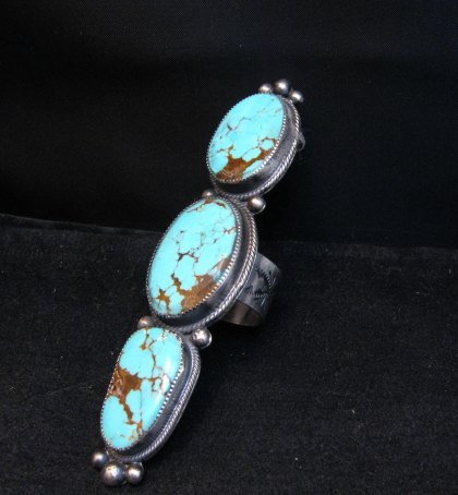 Image 2 of Navajo 3-Stone Turquoise Silver Ring by Juanita Long sz8-1/2