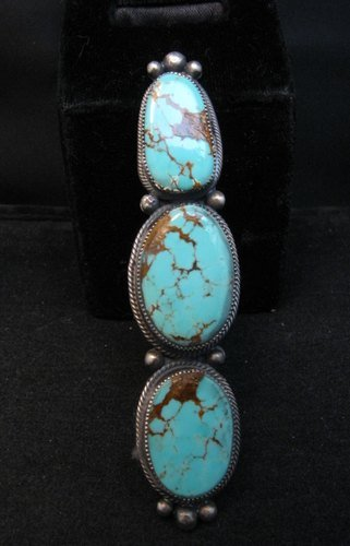 Image 3 of Navajo 3-Stone Turquoise Silver Ring by Juanita Long sz8-1/2