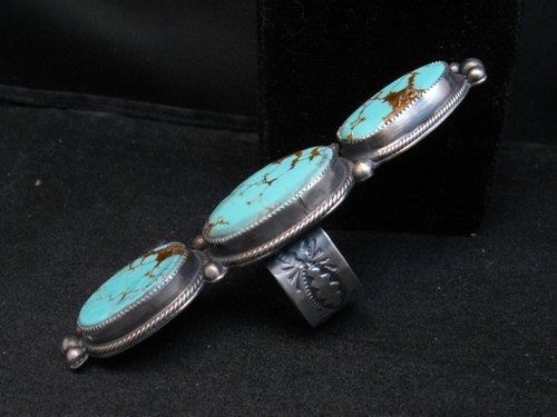 Image 5 of Navajo 3-Stone Turquoise Silver Ring by Juanita Long sz8-1/2