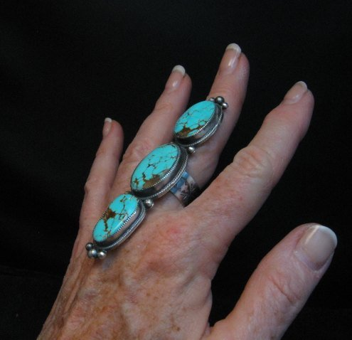 Image 6 of Navajo 3-Stone Turquoise Silver Ring by Juanita Long sz8-1/2