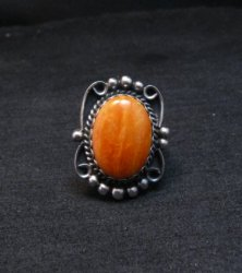 Native American Navajo Spiny Oyster Silver Ring, Alfred Martinez sz8-1/2