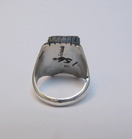 Image 3 of Navajo Ray Jack Number 8 Turquoise Ring Sz12