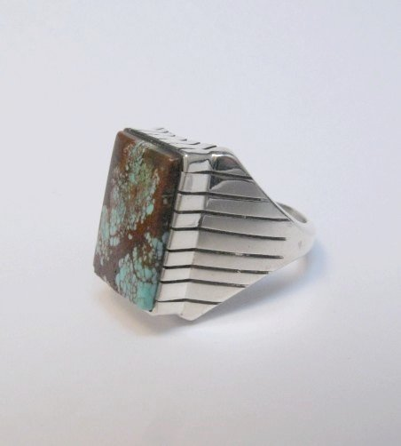 Image 2 of Navajo Ray Jack Number 8 Turquoise Ring Sz12