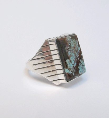 Image 1 of Navajo Ray Jack Number 8 Turquoise Ring Sz12