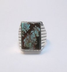 Navajo Ray Jack Number 8 Turquoise Ring Sz12