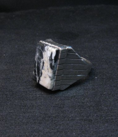 Image 1 of Native American Navajo White Buffalo Silver Ring Sz12-3/4