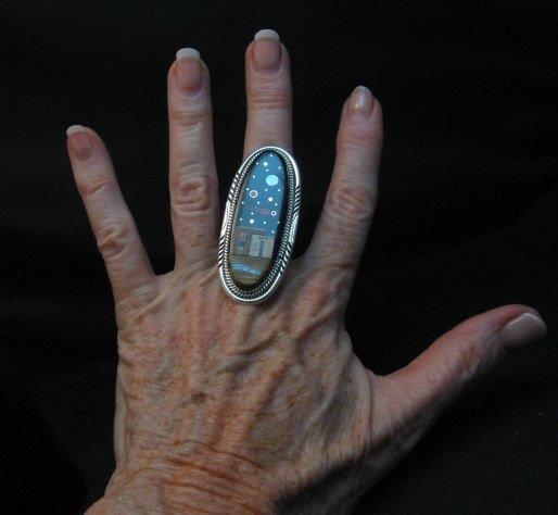 Image 3 of Long Navajo Inlaid Pueblo Night Sky Ring, Matthew Jack, sz10-1/4