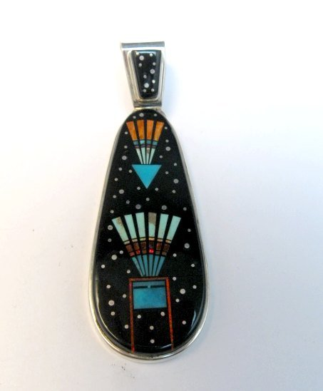 Image 0 of Long Navajo Native American Multigem Micro Inlay Pendant Matthew Jack