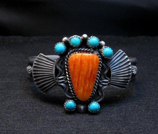 Image 0 of Eva Billah ~ Navajo ~ Tufa Cast Silver Spiny Oyster Turquoise Bracelet