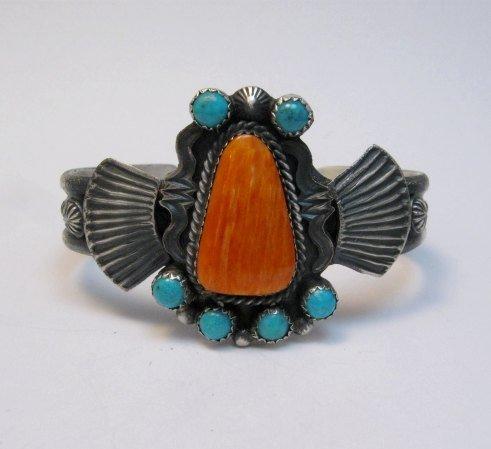 Image 1 of Eva Billah ~ Navajo ~ Tufa Cast Silver Spiny Oyster Turquoise Bracelet