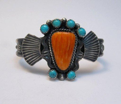 Image 2 of Eva Billah ~ Navajo ~ Tufa Cast Silver Spiny Oyster Turquoise Bracelet