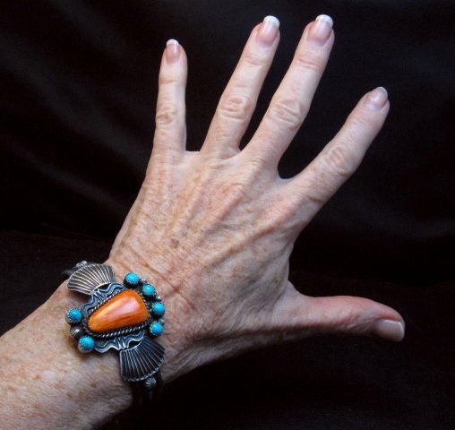 Image 6 of Eva Billah ~ Navajo ~ Tufa Cast Silver Spiny Oyster Turquoise Bracelet
