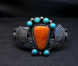 Eva Billah ~ Navajo ~ Tufa Cast Silver Spiny Oyster Turquoise Bracelet