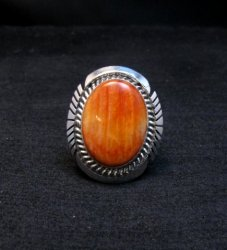 Native American Navajo Spiny Oyster Silver Ring, Alfred Martinez sz8